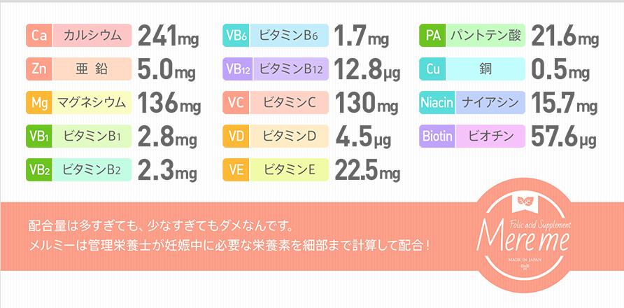 メルミー葉酸サプリの成分